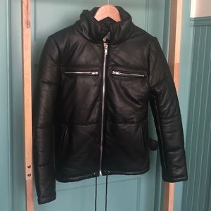 black leather puffy coat